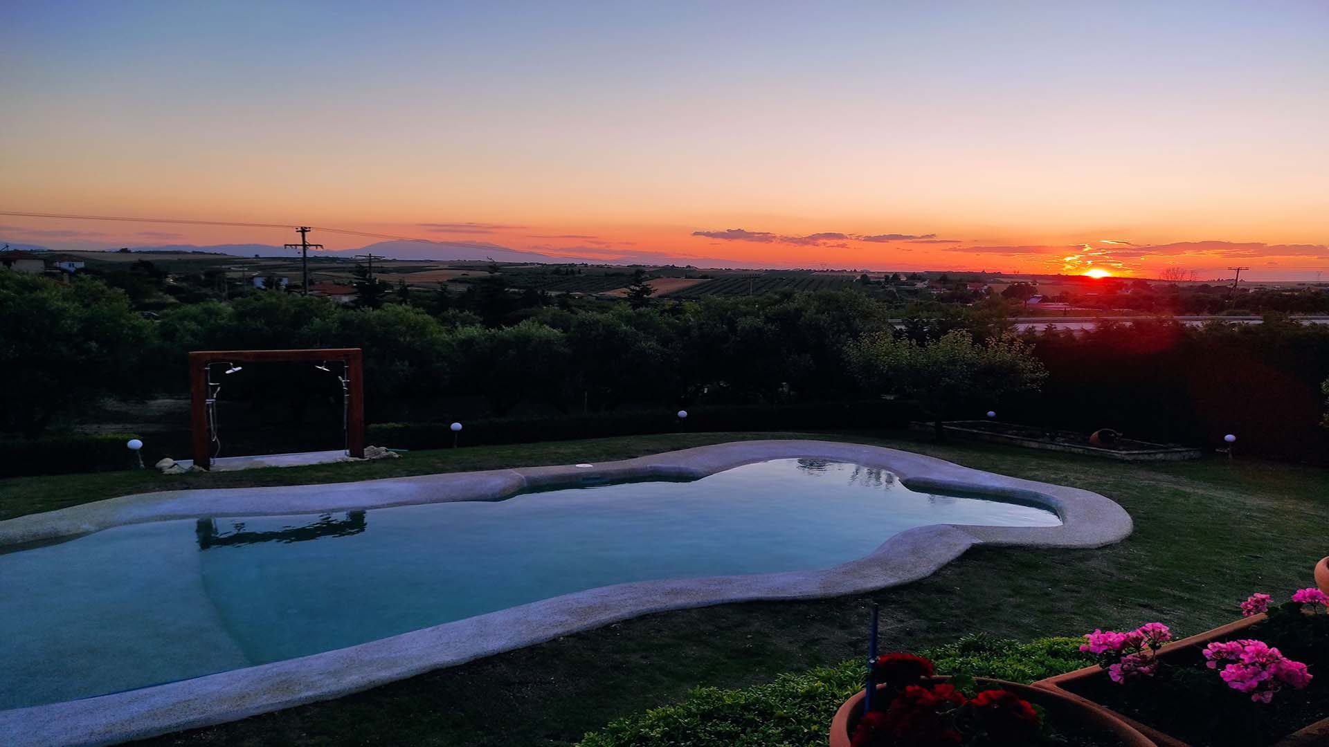 Beautiful Sunset by the Pool